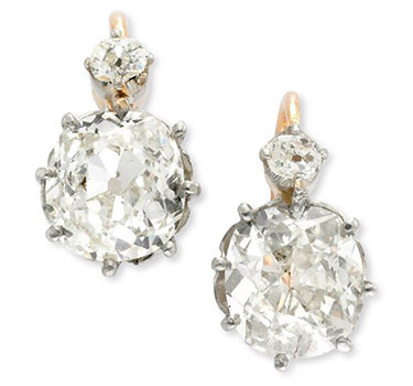 A Pair Of Antique Old Mine Cushion-cut Diamond Ear Pendants, Weighing 3.50 Carats , Circa 1885