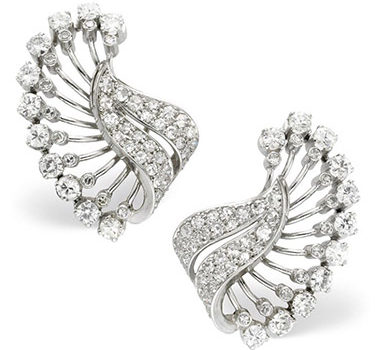 A Pair Of Diamond And Platinum Foliate Ear Clips, Circa 1940