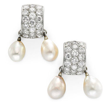 A Pair Of Natural Pearl And Diamond Ear Pendants, By Suzanne Belperron