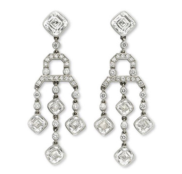 A Pair of Cushion and Circular-cut Diamond Ear Pendants