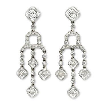 A Pair Of Cushion And Circular-cut Diamond Ear Pendants