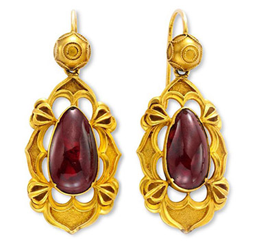 A Pair of Antique Gold and Garnet Ear Pendants, circa mid 19th Century