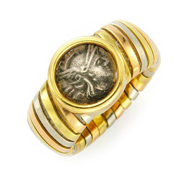 An Ancient Coin And Tri-colored Gold Ring, By Bulgari, Circa 1985