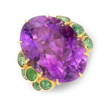 An Amethyst and Peridot Ring, by Rene Boivin, circa 1950