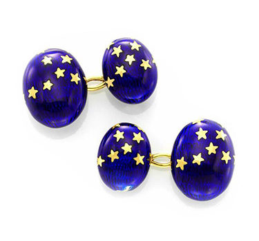 A Pair Of Antique Gold And Gold Enamel 'Stars' Cufflinks, Circa 1900