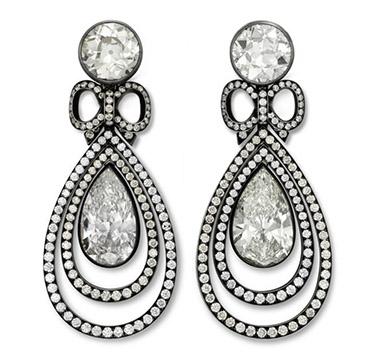 A Pair of Diamond Ear Pendants, by Hemmerle