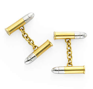 A Pair of Bi-colored 18k Gold Cufflinks