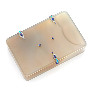 An Art Deco Agate, Lapis Lazuli, Turquoise and Diamond Box