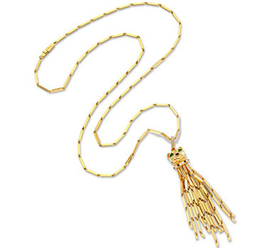 A Multi-gem And Gold Panther Gold Tassel Pendant Sautoir Necklace