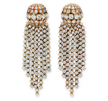 A Pair Of Gold And Diamond Tassel Ear Pendants, By Van Cleef & Arpels, Circa 1970