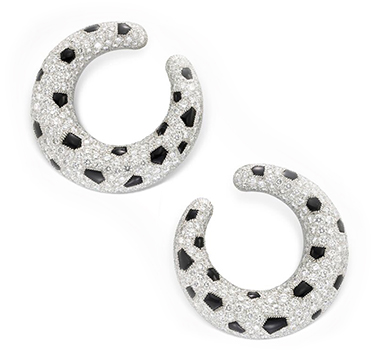 A Pair of Onyx and Diamond 'Panther' Creole Hoop Earrings, by Cartier