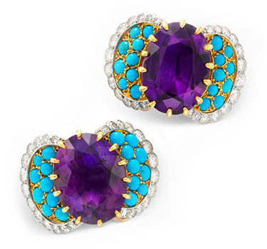 A Pair Of Amethyst, Turquoise And Diamond Ear Clips, By Cartier, Circa 1955