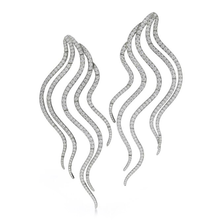 A Pair of Diamond and Platinum 'Wave' Ear Pendants of 6.54 carats, by SABBA