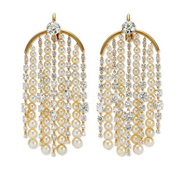 A Pair Of Natural Pearl And Cushion-cut Diamond Ear Pendants, By SABBA