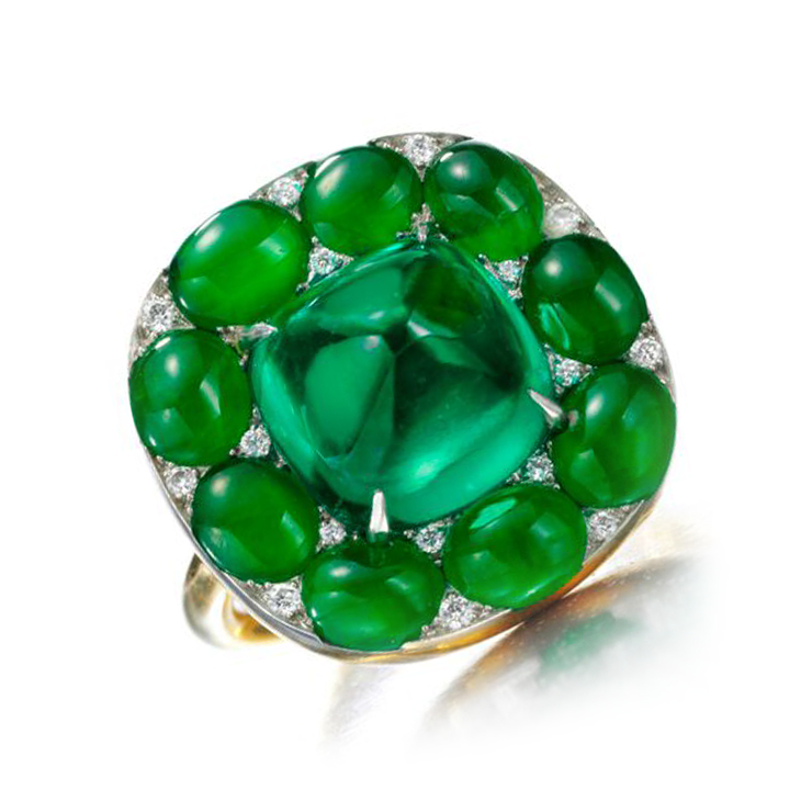 A Cabochon Emerald, Jade and Diamond Ring, by SABBA