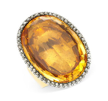 An Antique Citrine And Diamond Ring, Circa 19th Century