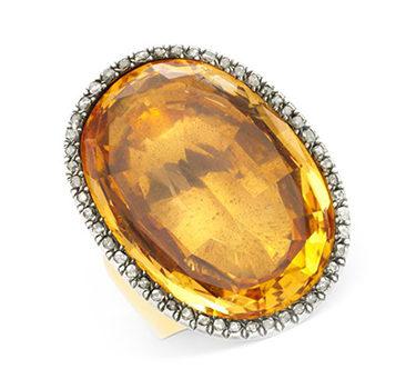An Antique Citrine And Diamond Ring, Circa 19th Century