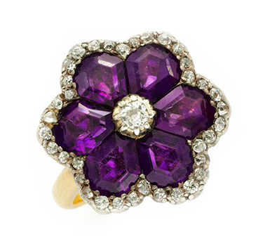 An Antique Amethyst And Diamond Flower Ring, Circa Late 19th Century