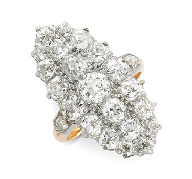 An Antique Old European-cut Diamond Cluster Navette Ring, Circa 19th Century