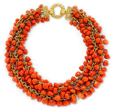 A Carved Coral and Gold Chain Collar Necklace, by Tiffany & Co., circa 1960