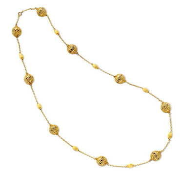 A Gold Filigree Long Chain Necklace, Circa 1960