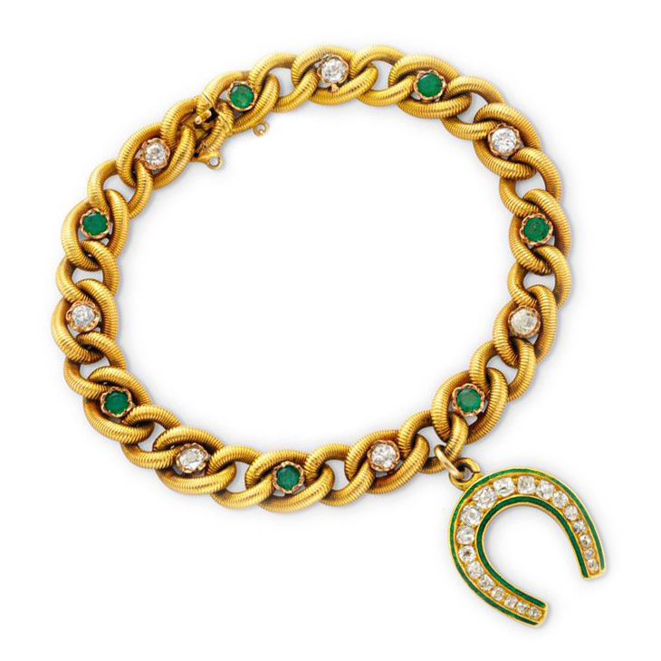 An Antique Emerald, Diamond and Enamel 'Horse Shoe' Charm Bracelet, circa 19th Century