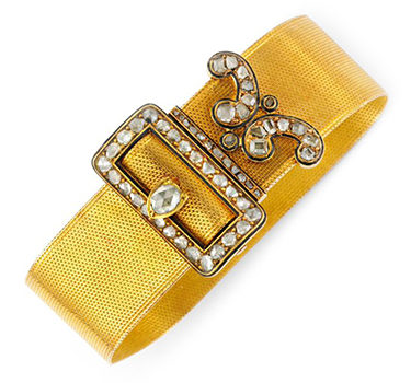 An Antique Rose-cut Diamond, Enamel And Gold 'Belt' Bracelet, Circa 19th Century