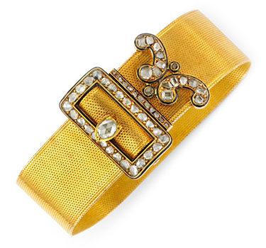An Antique Rose-cut Diamond, Enamel And Gold 'Belt' Bracelet, Circa 19th Century