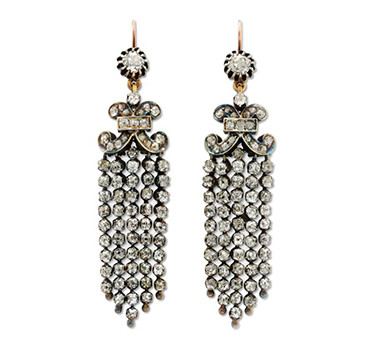A Pair Of Old Mine And Old European-cut Diamond Tassel Ear Pendants, Circa 19th Century