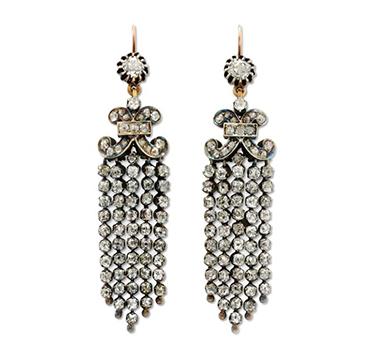 A Pair Of Old Mine And Old European-cut Diamond Tassel Ear Pendants, Circa 19th Century