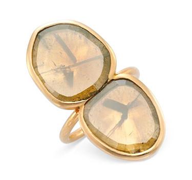 A Twin-stone Colored Diamond Ring