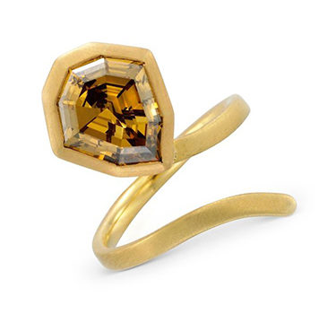 A Shield-shape Fancy Deep Orange Brown Diamond Ring