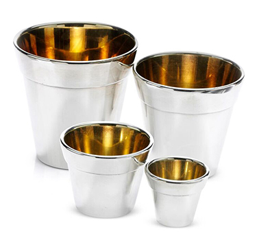 A Set of Four Sterling Silver 'Flower Pot' Vases, by Bulgari, c.1990