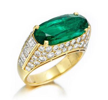 An Emerald And Diamond 'Trombino' Ring, By Bulgari, Circa 1980