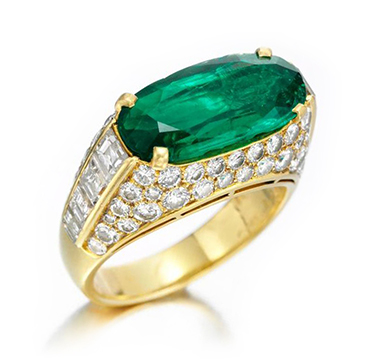 An Emerald and Diamond 'Trombino' Ring, by Bulgari, circa 1980
