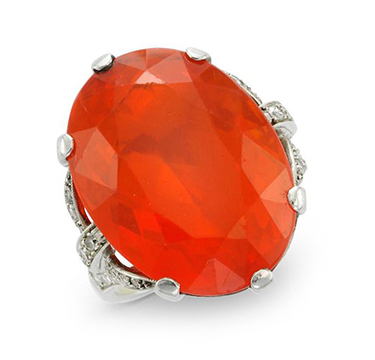 An Early 20th Century Fire Opal and Diamond Ring