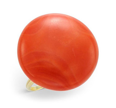 A Coral Button And Gold Ring, Circa 1950