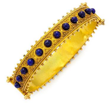 An Antique Lapis Lazuli And Gold Bangle Bracelet, Late 19th Century