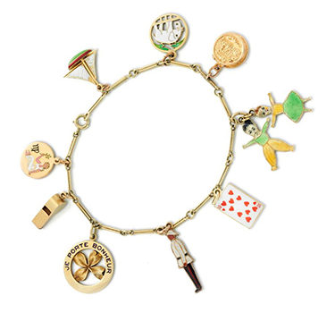 A Gold And Enamel Charm Bracelet, Circa 1930