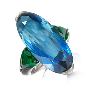 An Aquamarine and Demantoid Garnet Ring, by Hemmerle