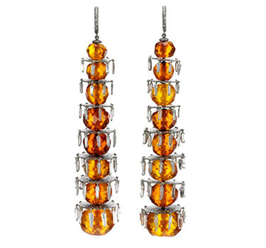 A Pair Of Faceted Amber And Diamond Ear Pendants, By SABBA