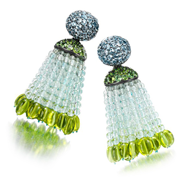 A Pair of Aquamarine, Peridot and Demantoid Garnet Tassel Ear Pendants, by Hemmerle