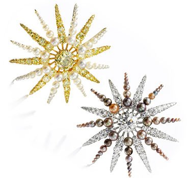 A Pair Of Colored Diamond, Diamond And Natural Pearl Sunburst Ear Clips, By BHAGAT
