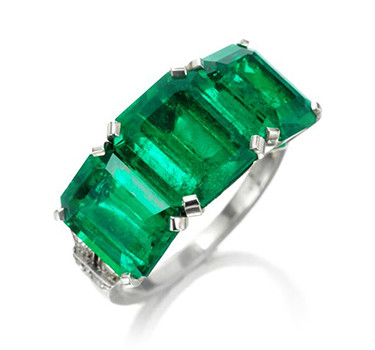 An Art Deco Three-stone Emerald And Diamond Ring, By Cartier, Circa 1920
