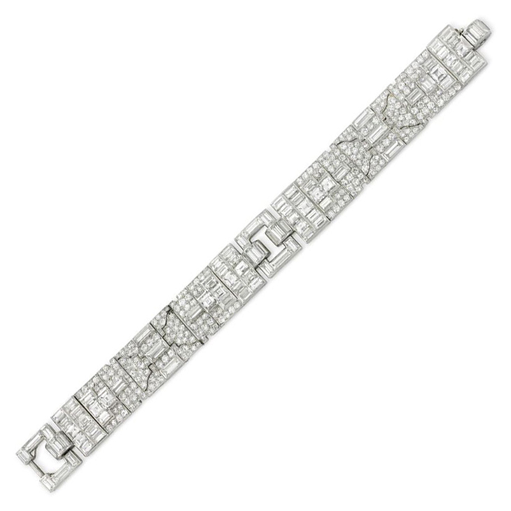 bracelet platinum antique art emerald c diamond bracelets deco jewelry