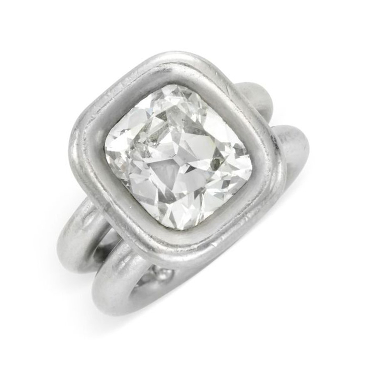 A Diamond Ring, set with a cushion-cut diamond weighing 4.45 carats, mounted in platinum, by JAR