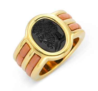 A Carved Obsidian And Coral Ring, By JAR