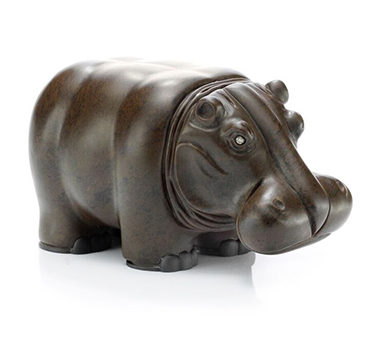 A Carved Obsidian And Diamond Hippopotamus Sculpture, By Hemmerle