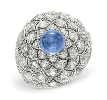A Cabochon Sapphire And Diamond Dome Ring, By Boivin, Circa 1935