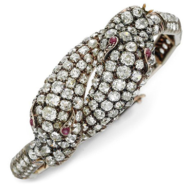 An Antique Diamond and Ruby Serpent Bracelet, circa 19th Century